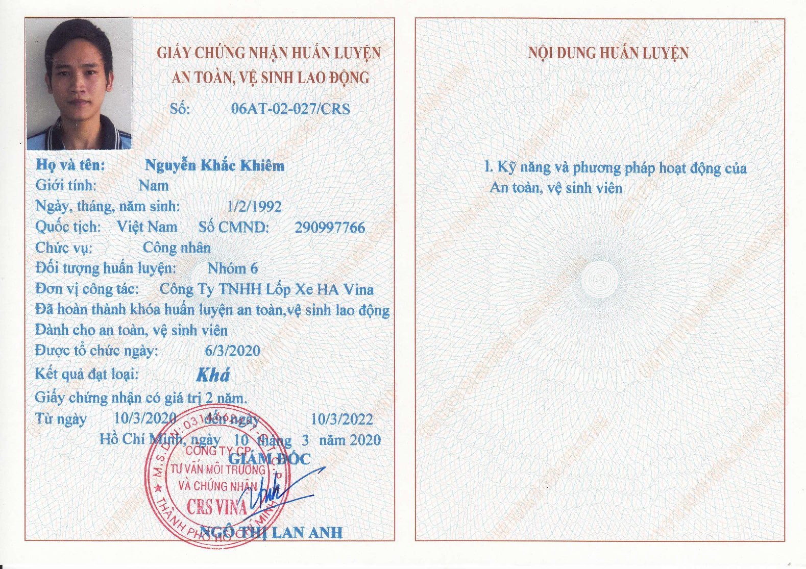 giấy chứng nhận nhóm 6