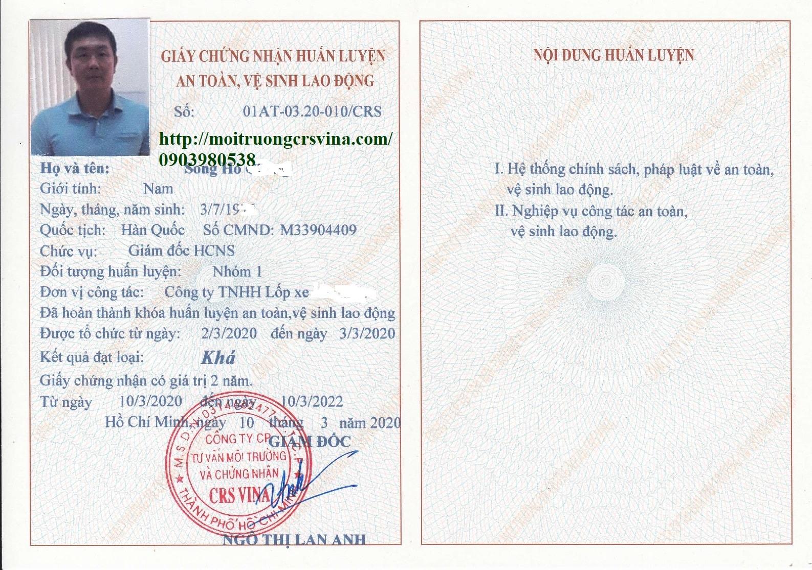 giấy chứng nhận nhóm 1