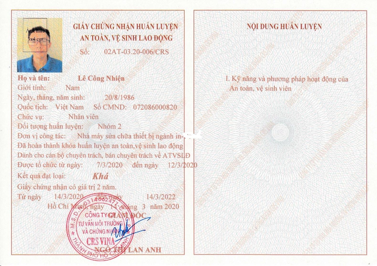 giấy chứng nhận nhóm 2